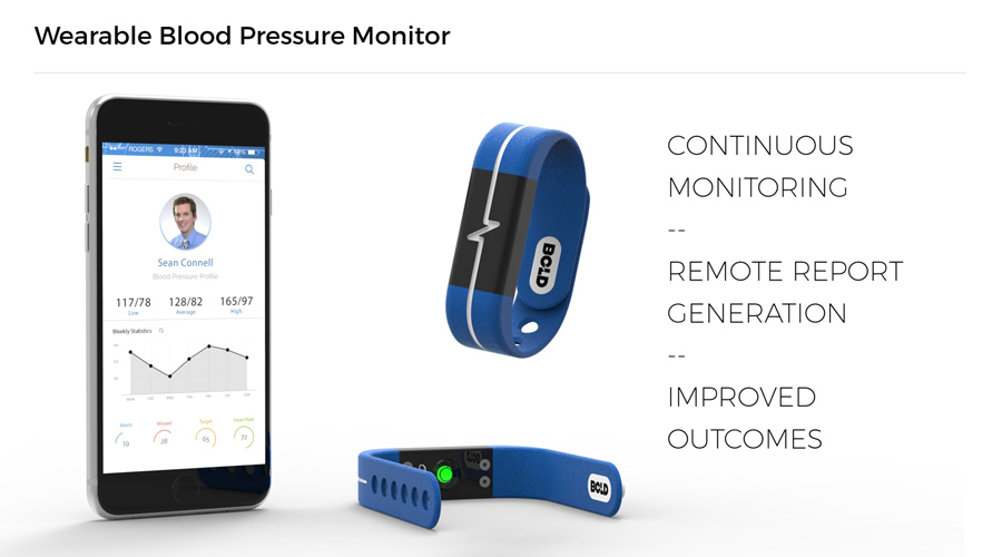 Bold Bands uses sensors placed on both wrists to measure blood pressure instead of traditional cuff-based units.