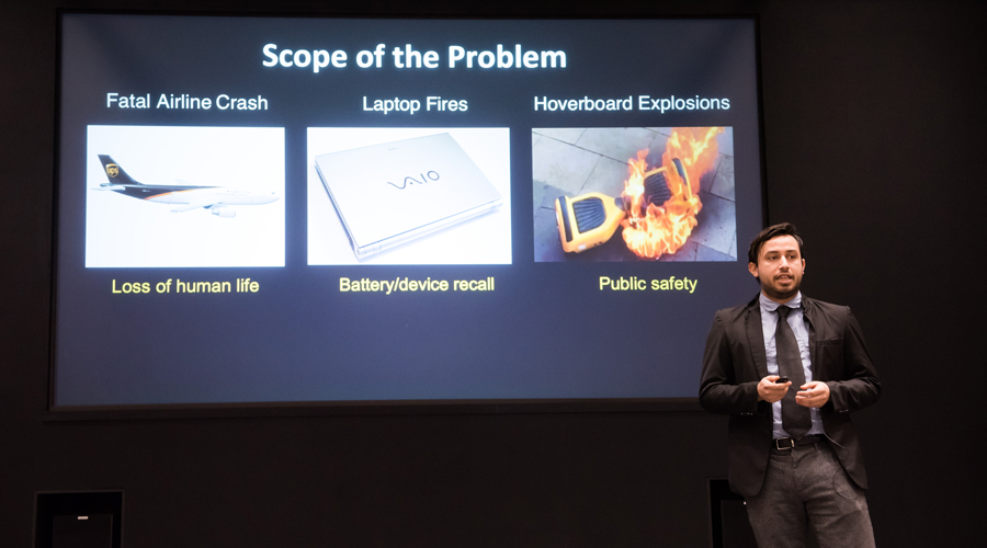 Co-founder Jose Martinez presents LiOnSafe's battery separator technology at the NUvention: Energy presentations.